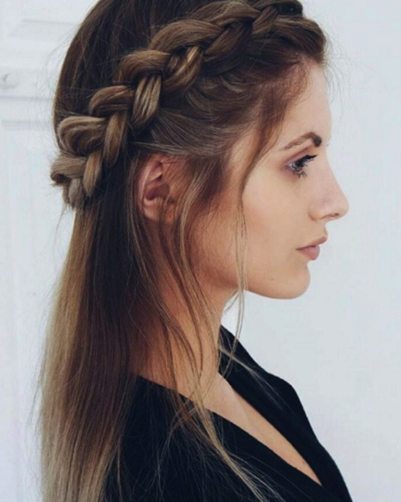 Half Up Half Down with Side Braid