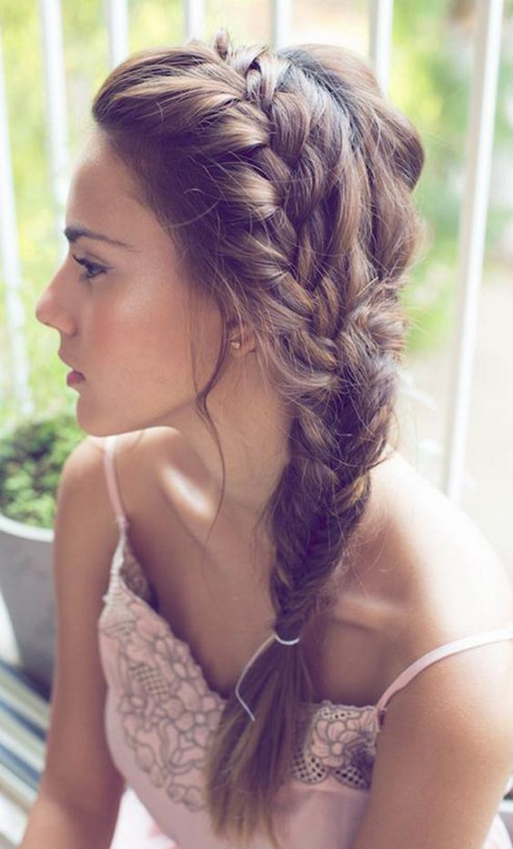 Side Part Hair with Scalp Plait