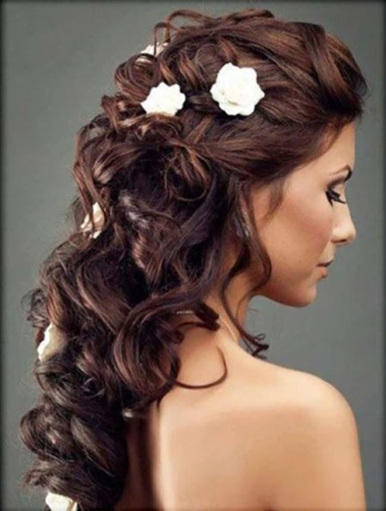 Long Curly Hairstyle with Flowers