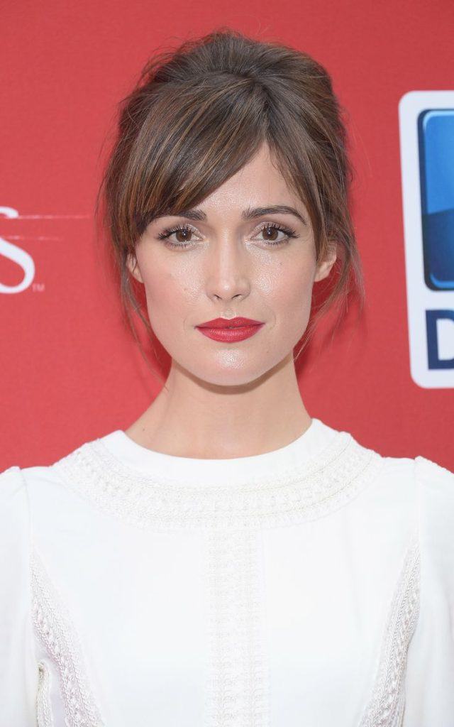 Updo with Parted Side Bangs