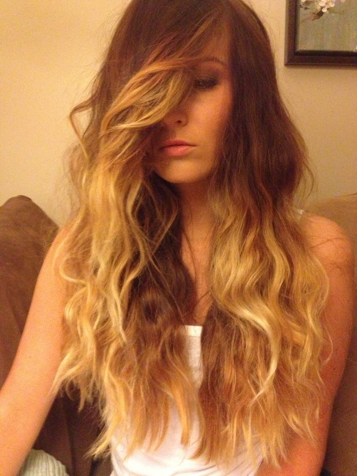 Ombre Layered Hair with Side Swept Bangs