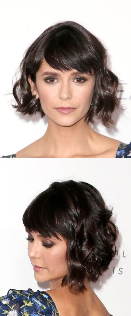 Wavy Bob with Side Swept Bangs