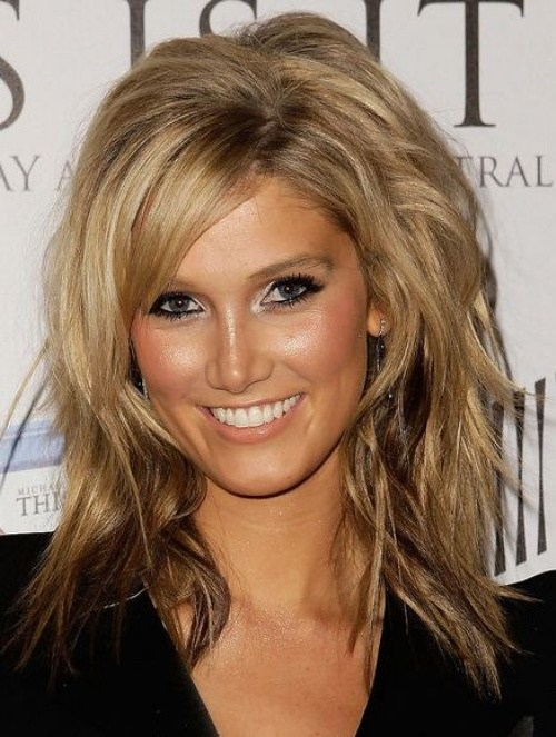 Mid Length Layered Haircut with Side Bangs