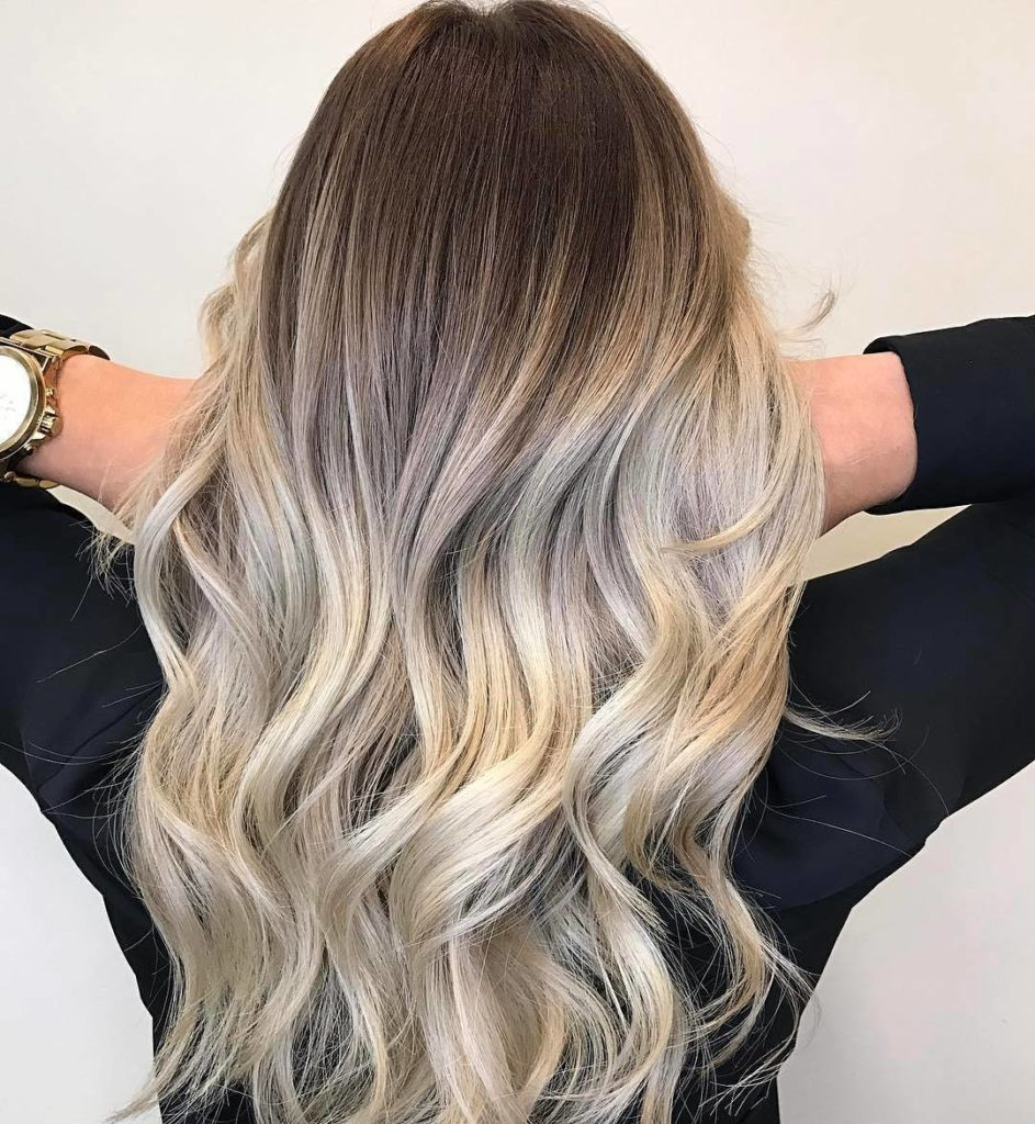 Blonde and white Balayage Hairstyle