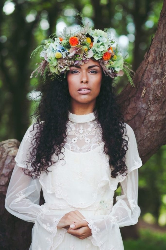 black flower girl hair ideas Awesome 31 Flower Crown Hairstyles for Your Wedding