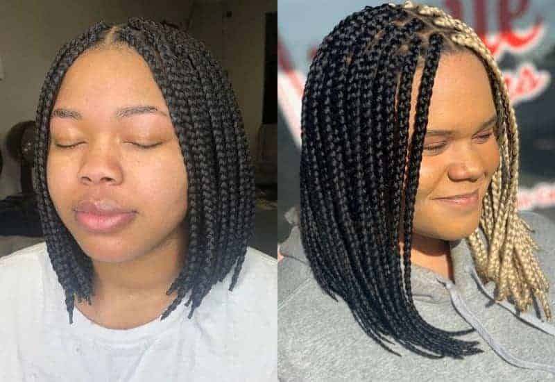 Middle Part on Braided Bob