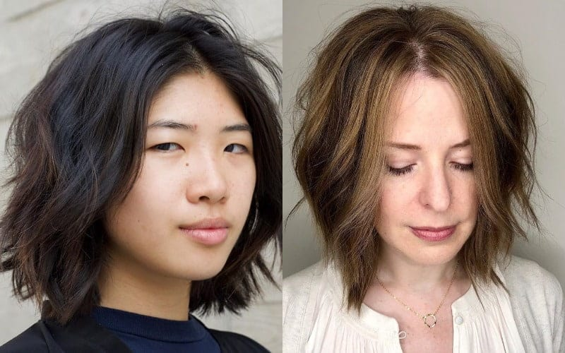 Layered Bob with Middle Part