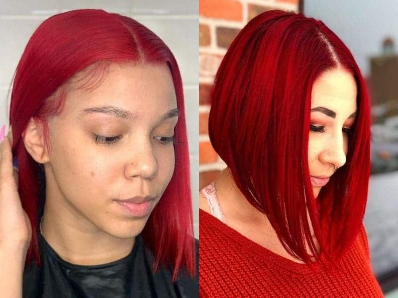 Red Middle Part Bob