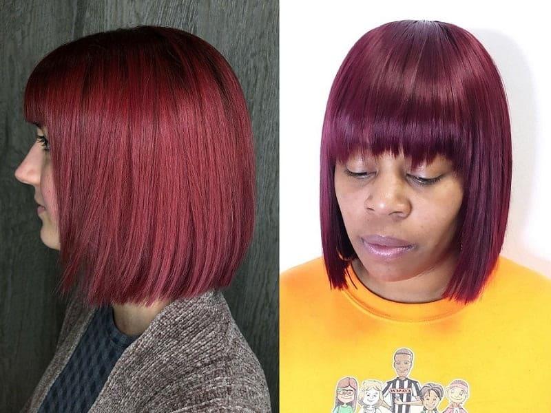 burgundy blunt cut bob
