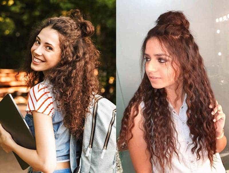 curly half updo
