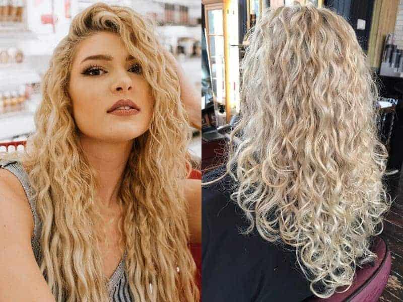 permed long blonde hair
